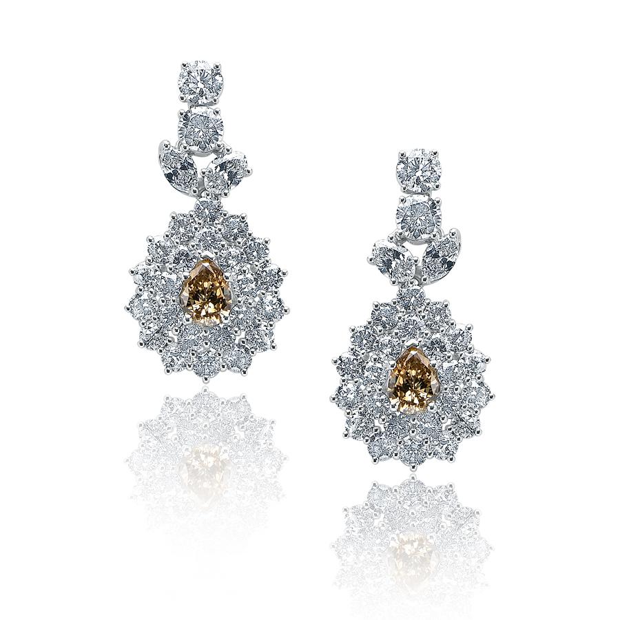 Brown-Yellow Diamond Ear Rings